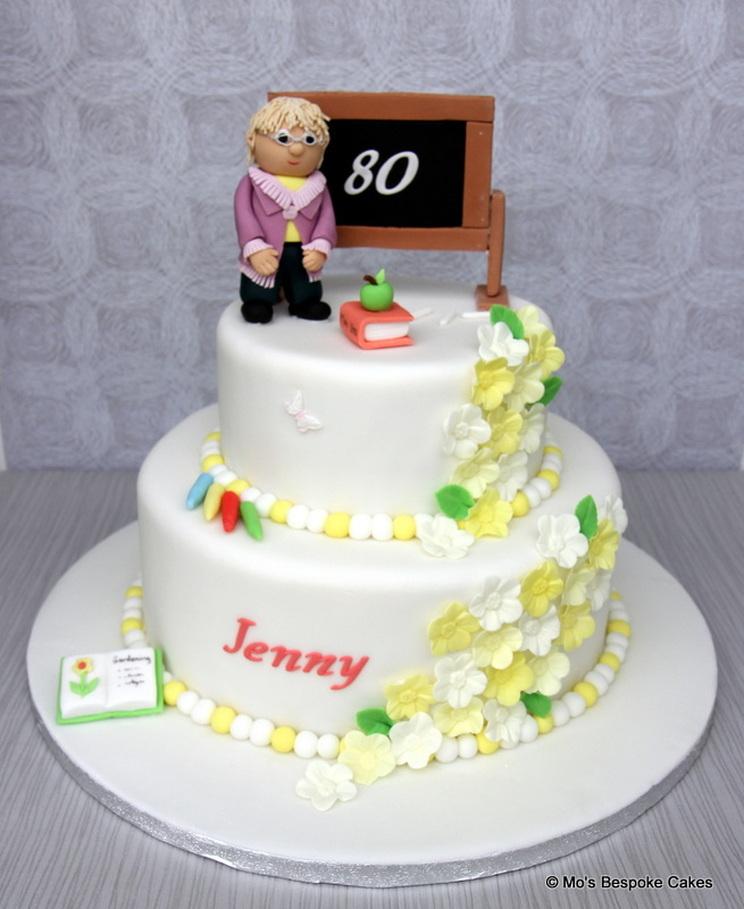80th birthday teachers cake Personalised Cakes for Birthdays