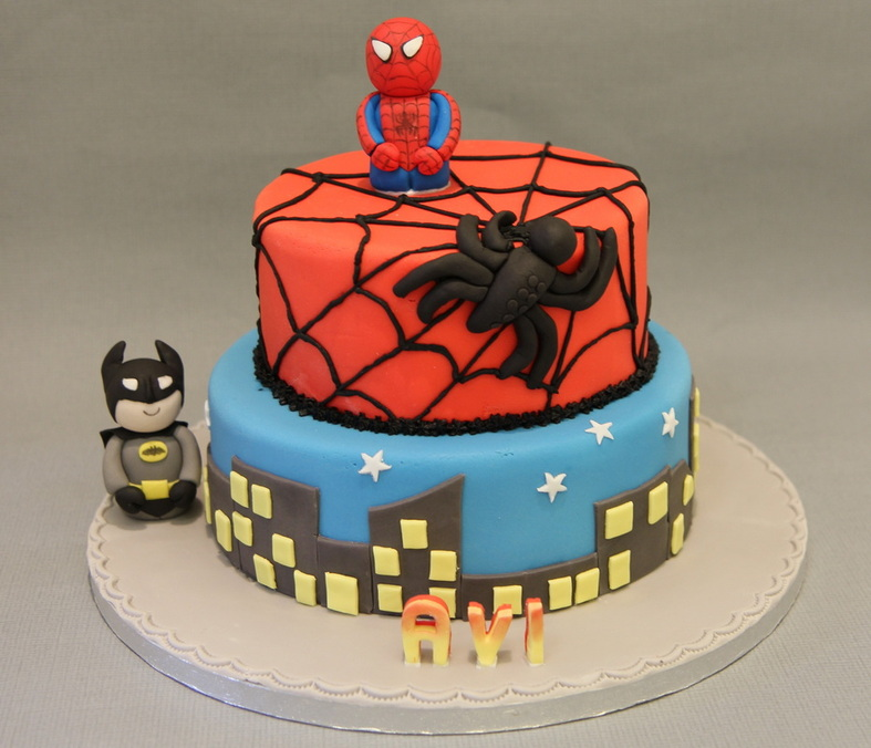 Spiderman and Batman birthday cake Personalised Cakes for